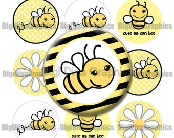 Cute As Can Bee Bottle Cap Images 1 Inch Circles Digital JPG - Instant Download - BC1032