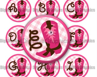 Cowgirl Boot Alphabet Bottle Cap Images 1 Inch Circles Digital JPG A-Z - Instant Download - BC1028