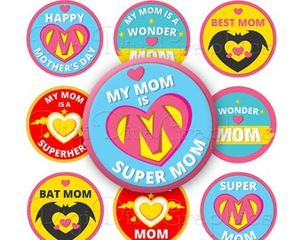 SUPERMOM Mother's Day Sayings Bottle Cap Images 1 Inch Circles Digital JPG - Instant Download - BC1169
