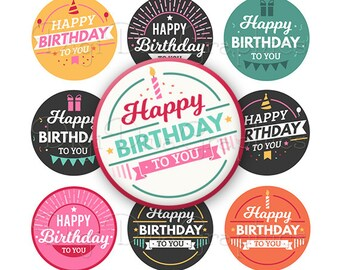 Happy Birthday Bottle Cap Favor Tags Party Bday Digital Art Collage Set 1 Inch Circle 4x6 - Instant Download - BC1163