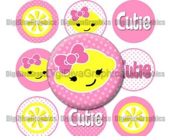 Lemonade Cutie Bottle Cap Images 1 Inch Circles Digital JPG - Instant Download - BC1030
