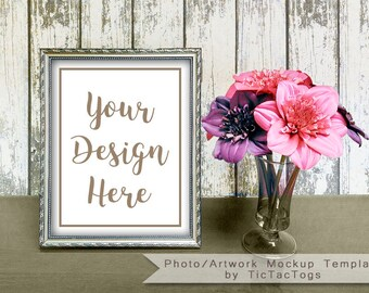 Download Free Mockup Print Artwork Picture Photo Template 8x10 | Insert Picture Frame Wood Rustic Flower - Instant Download PSD Template