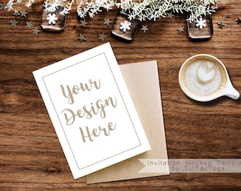 Invitation mockup etsy christmas card mockup rustic invitation mockup template 5x7 insert photo card rustic wood coffee cocoa instant download stopboris Image collections