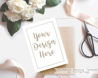Wedding Invitation Mockup - White Rose Invitation Mockup Template Ribbon - 5x7 Insert Photo Card Rustic Wood Coffee Cocoa - Instant Download