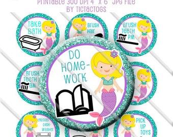 Printable Mermaid Chore Chart Behavior Reward DIY magnets Girl Bottle Cap Images Chevron 1 Inch Circles - Instant Download