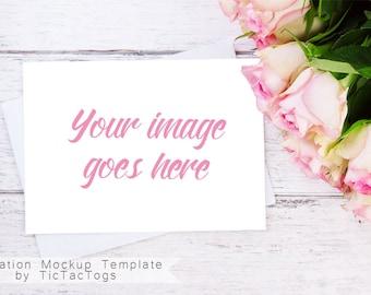 Wedding Invitation Mockup - Pink Rose Invitation Mockup   Valentine Template - 5x7 Insert Photo Card Wood Bouquet - Instant Download