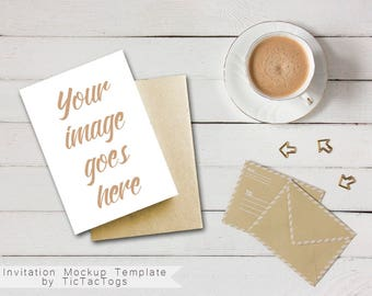 Whitewash Wood Invitation Mockup - Notebook Invitation Mockup Template - 5x7 Insert Photo Card Coffee Paper Clips - Instant Download