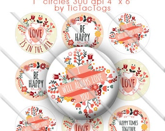 Be Happy Love Floral Sayings Bottle Cap Colorful Digital Art Collage Set 1 Inch Circle 4x6 - Instant Download - BC533