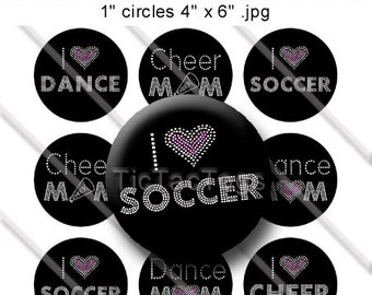 Bling Sayings Bottle Cap Images Set 1 Inch Circle 4x6 Digital I Heart Soccer Cheer Dance Mom - Instant Download - BC166