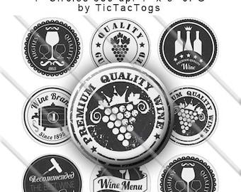 Chalkboard Wine Badge Sayings Bottle Cap Images 1 Inch Circles Digital JPG - Instant Download - BC563