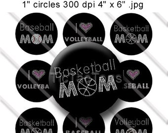 Bling Sayings Bottle Cap Images Set 2 1 Inch Circle 4x6 Digital I Heart Basketball Volleyball Baseball Mom - Instant Download - BC271