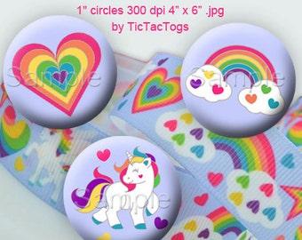 Rainbow Unicorn Bottle Cap Digital Art Collage Set 1 Inch Circle Heart - Instant Download - BC561