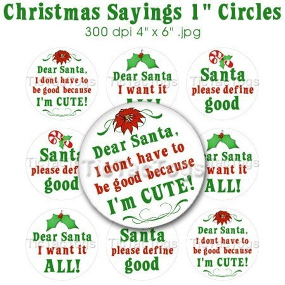 christmas santa sayings bottle cap images digital set 1 inch etsy
