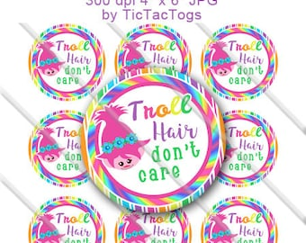 Troll Hair don't care Saying Bottle Cap Images Digital Art Collage Set 1 Inch Circle 4x6 - Instant Download - BC592