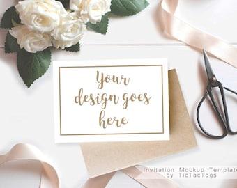 Vintage Rose Invitation Mockup - White Rose Invitation Mockup Template - 5x7 Insert Photo Card Rustic Wood Ribbon  - Instant Download
