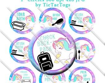 Printable Unicorn Chore Chart Behavior Reward DIY magnets Girl Bottle Cap Images Chevron 1 Inch Circles - Instant Download