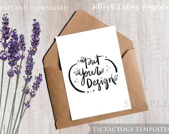 Lavender Wood Invitation Mockup - White Washed Invitation Mockup Template - 5x7 Insert Photo Card Rustic Wood Ribbon  - Instant Download