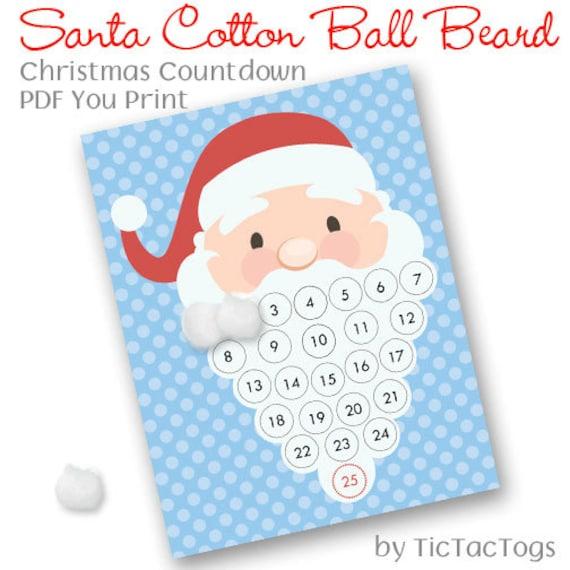 Santa Christmas Countdown Advent Calendar Cotton Ball Beard