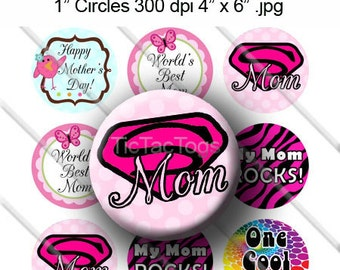 Super Mom Mother's Day Sayings Bottle Cap Colorful Digital Art Collage Set 1 Inch Circle 4x6 - Instant Download