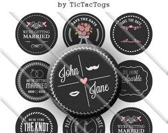 Editable Chalkboard Wedding Sayings Bottle Cap Colorful Digital Art Collage Set 1 Inch Circle 4x6 - Instant Download - BC584
