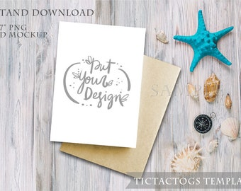 Card Mockup - Beach Shells Wood Invitation Mockup Template - 5x7 Insert Photo Card White Washed Wood - Instant Download