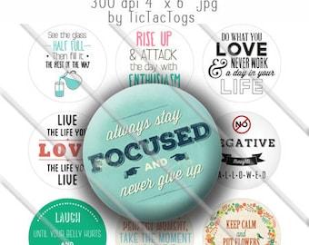 Inspirational Sayings Bottle Cap Images Digital Art Set 1 Inch Circle - Instant Download - BC512