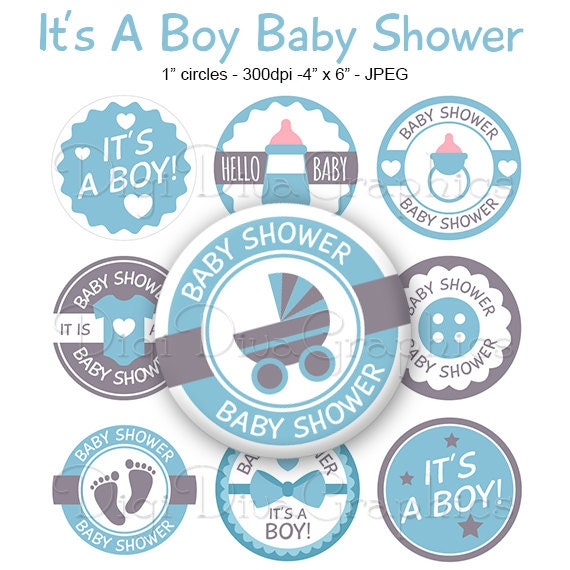 Its A Boy Baby Shower Bottle Cap Images Blue 1 Inch Etsy