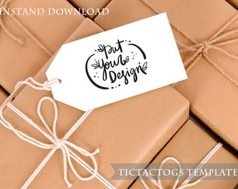 Gift Tag Mockup - Brown Paper Boxs with Strings and Tag Mockup Template Rustic - Instant Download