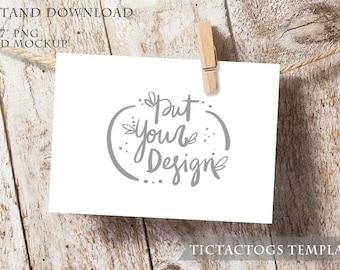 Clothes Pin Twine Invitation Mockup - Wood Invitation Mockup Template - 5x7 Insert Photo Card Rustic - Instant Download