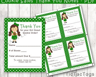 Green Scout Order Sales Receipt Thank You - PDF Print Yourself Brown Hair - Instant Download