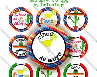 Cinco de Mayo Sayings Bottle Cap Digital Art Collage Set 1 Inch Circle 4x6 - Instant Download - BC485