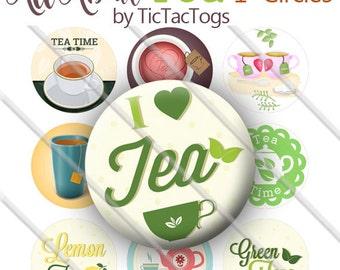 Tea Lover Sayings Bottle Cap Images Digital Art Collage Set 1 Inch Circle Digi 4X6 - Instant Download - BC575