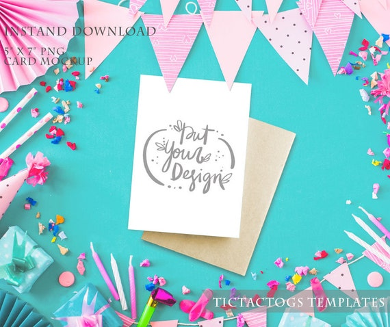 Birthday Card Mockup Party Invitation Mockup Template 5x7 Insert Photo Card Bunting Confetti Instant Download