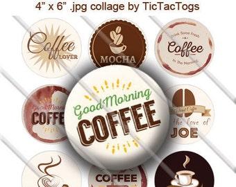 Coffee Jave Joe Latte Sayings Bottle Cap Images Digital Art Collage Set 1 Inch Circle Digi 4X6 - Instant Download - BC506