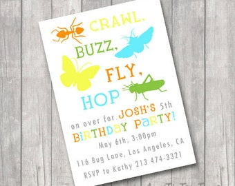 Bug Insect Birthday Party Invitations Invite You Print Personalized Beetle Butterfly Grasshopper Ant Customized 5x7 or 4x6