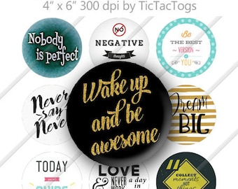 Awesome Sayings Bottle Cap Digital Art Collage Set 1 Inch Circle 4x6 - Instant Download - BC594