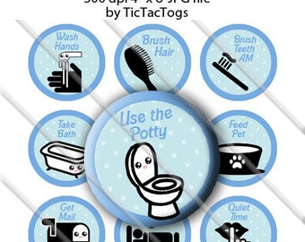 Printable Kawaii Boy Chore Chart Behavior Reward DIY magnets Bottle Cap Images 1 Inch Circles - Instant Download - BC590