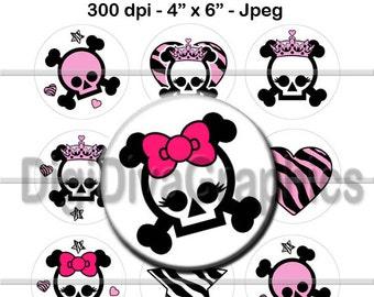 Skull Girl Bottle Cap Images 1 Inch Circles Digital JPG - Instant Download - BC1057