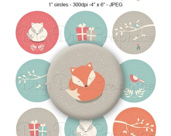 Winter Fox Bottle Cap Images, Christmas 1 Inch Circles Digital JPG - Instant Download - BC1126