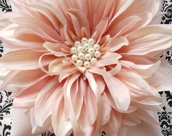 Blush Pink Dahlia Ring Bearer Pillow Pearl Rhinestone Accent Wedding Ring Pillow