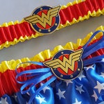 Wonder Woman Bridal Garter Set Gold Accent White Brides Bridal Comic Book Fantasy