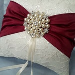 Ivory Dark Red Ring Bearer Pillow Lace Ring Pillow Pearl Rhinestone Accent Cranberry Apple Red