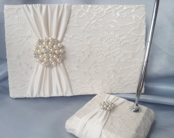 Ivory Lace Wedding Guest Book and Pen Set Ivory Bridal Lace Pearl Rhinestone Accent Unique Latte