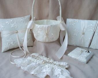6 pc Elegant Bridal Lace Ivory Pearl Wedding Ring Bearer Pillow Flower Girl Basket Guest Book Pen Stand Garter Set