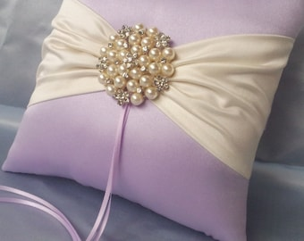 Lavender Ivory Ring Bearer Pillow Lace Ring Pillow Pearl Rhinestone Accent Lilac Pillow