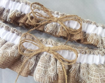 Burlap Wedding Bridal Garter Set Chantilly Lace Twine Bow Accent