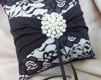 Black Ivory Ring Bearer Pillow Lace Ring Pillow Pearl Rhinestone Accent