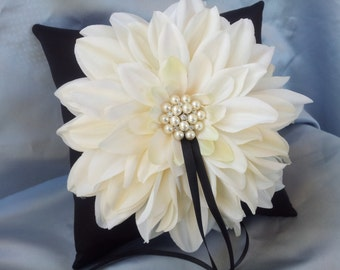Ivory Dahlia Black Ring Bearer Pillow Pearl Rhinestone Accent Wedding Ring Pillow