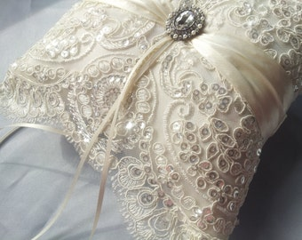 Beaded Ivory Ring Bearer Pillow Bridal Lace Ring Pillow Pearl Rhinestone Accent