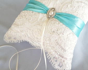 Aqua Blue Beaded Ivory Ring Bearer Pillow Bridal Lace Ring Pillow Pearl Rhinestone Accent Autumn Fall